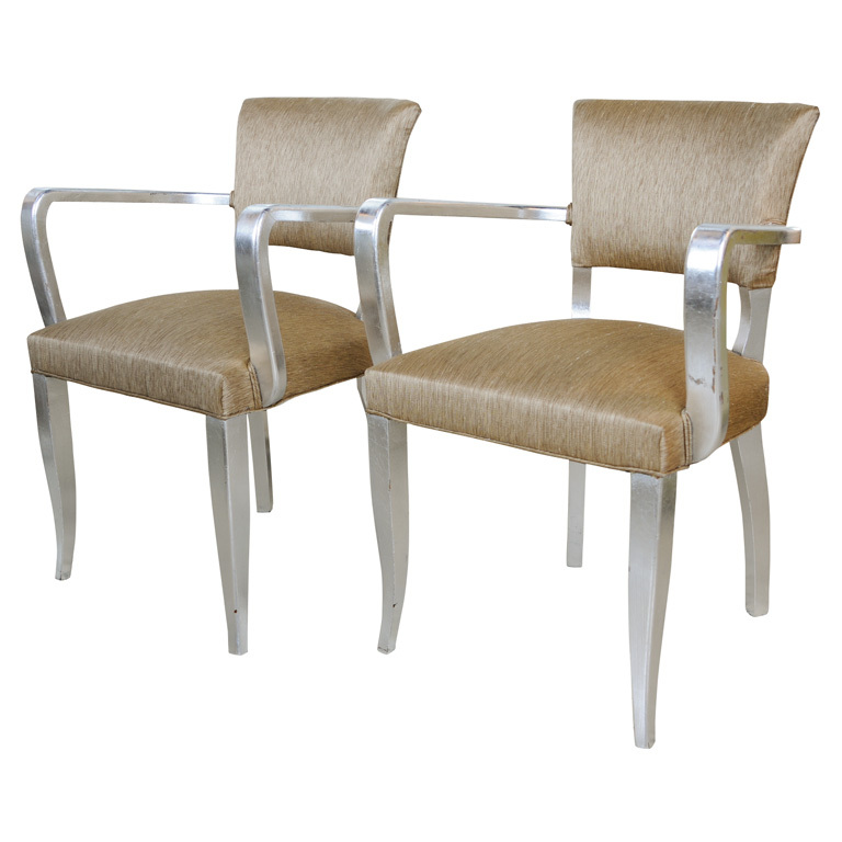 Pair French Art Deco Silvered Bridge Chairs 1940 S