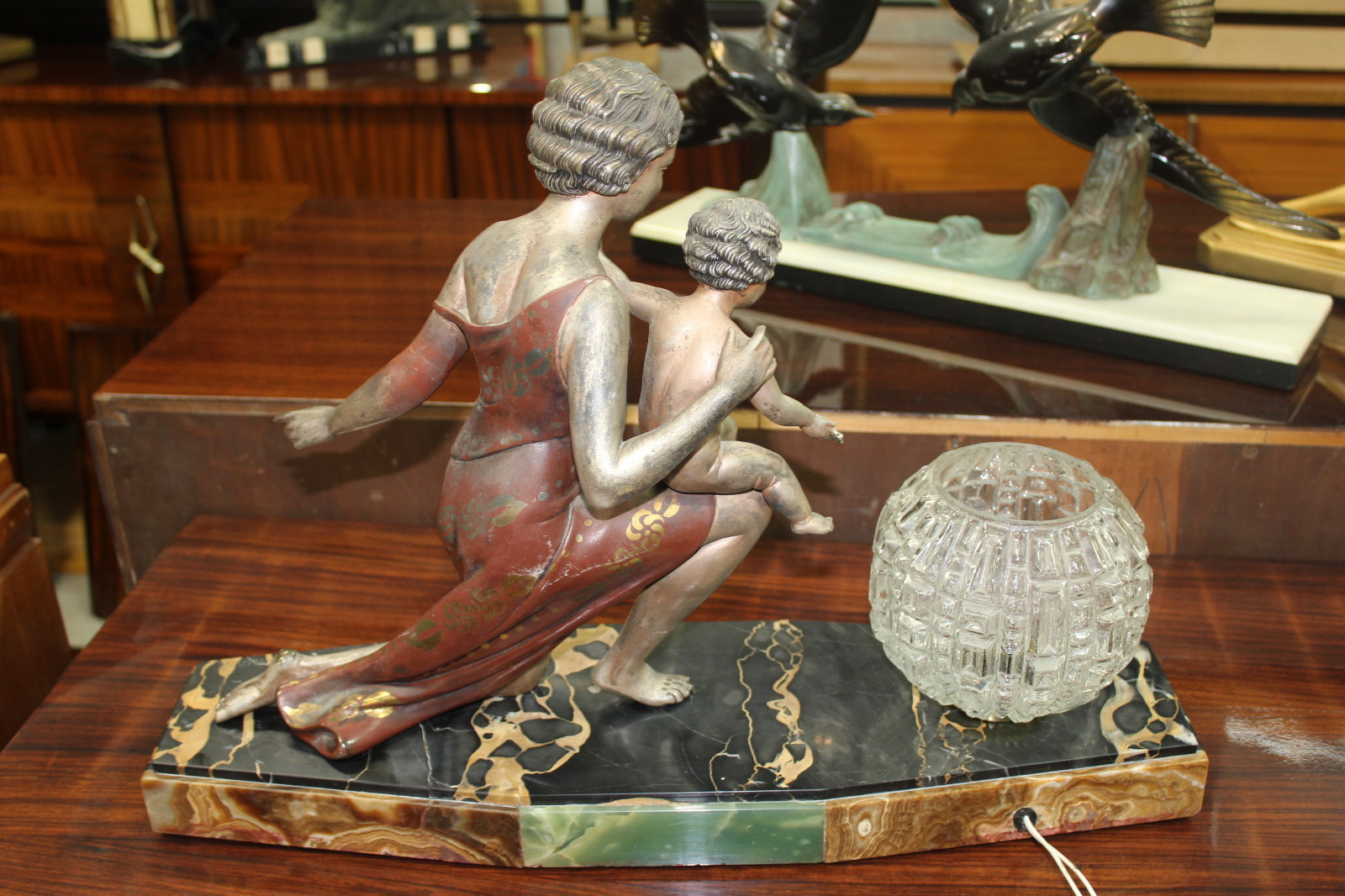 French Art Deco Sculpture Lamp Mother And Child U