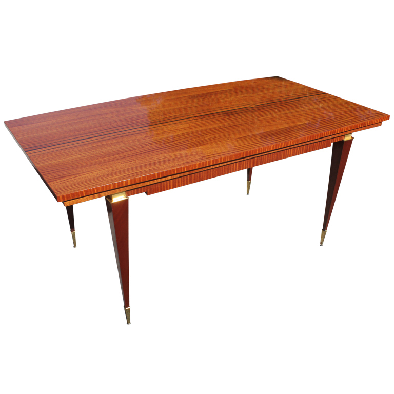French Art Deco Art Moderne Flame Mahogany Dining Table Modernism