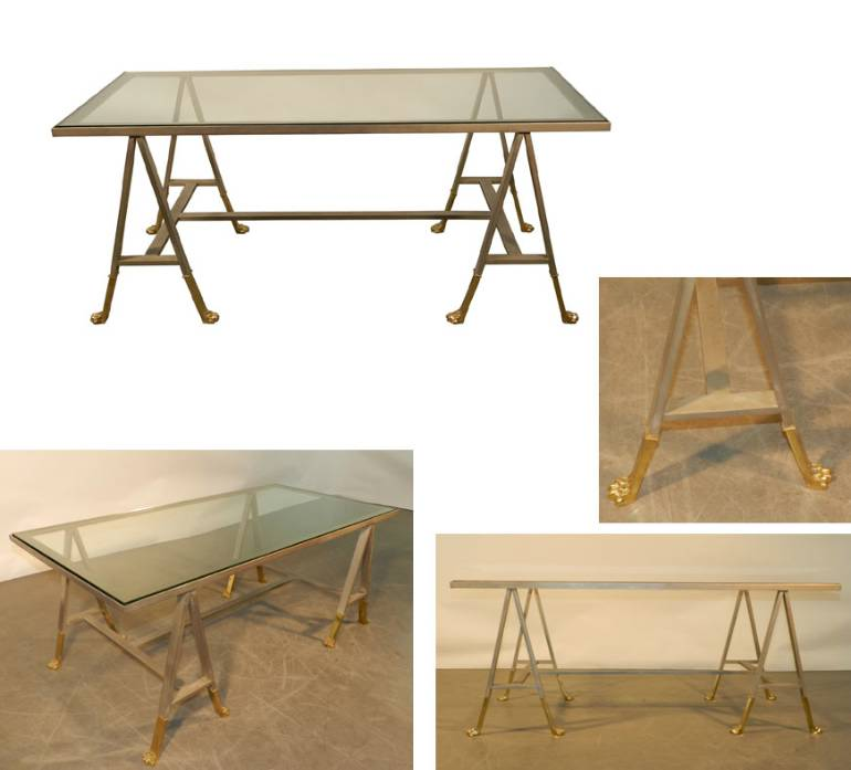 Coffee table on architectural gilt bronze geometric legs for Architectural coffee table