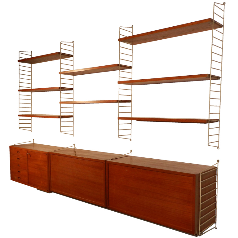 string system midcentury modern bookcase components in teak