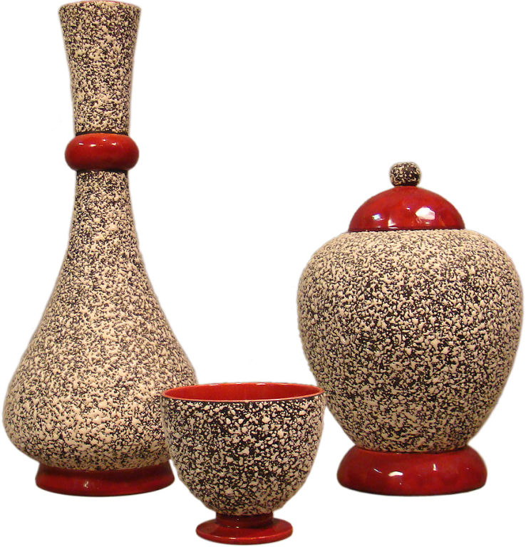 Paul Millet Set Of 3 Art Deco Ceramics S 232 Vres Modernism