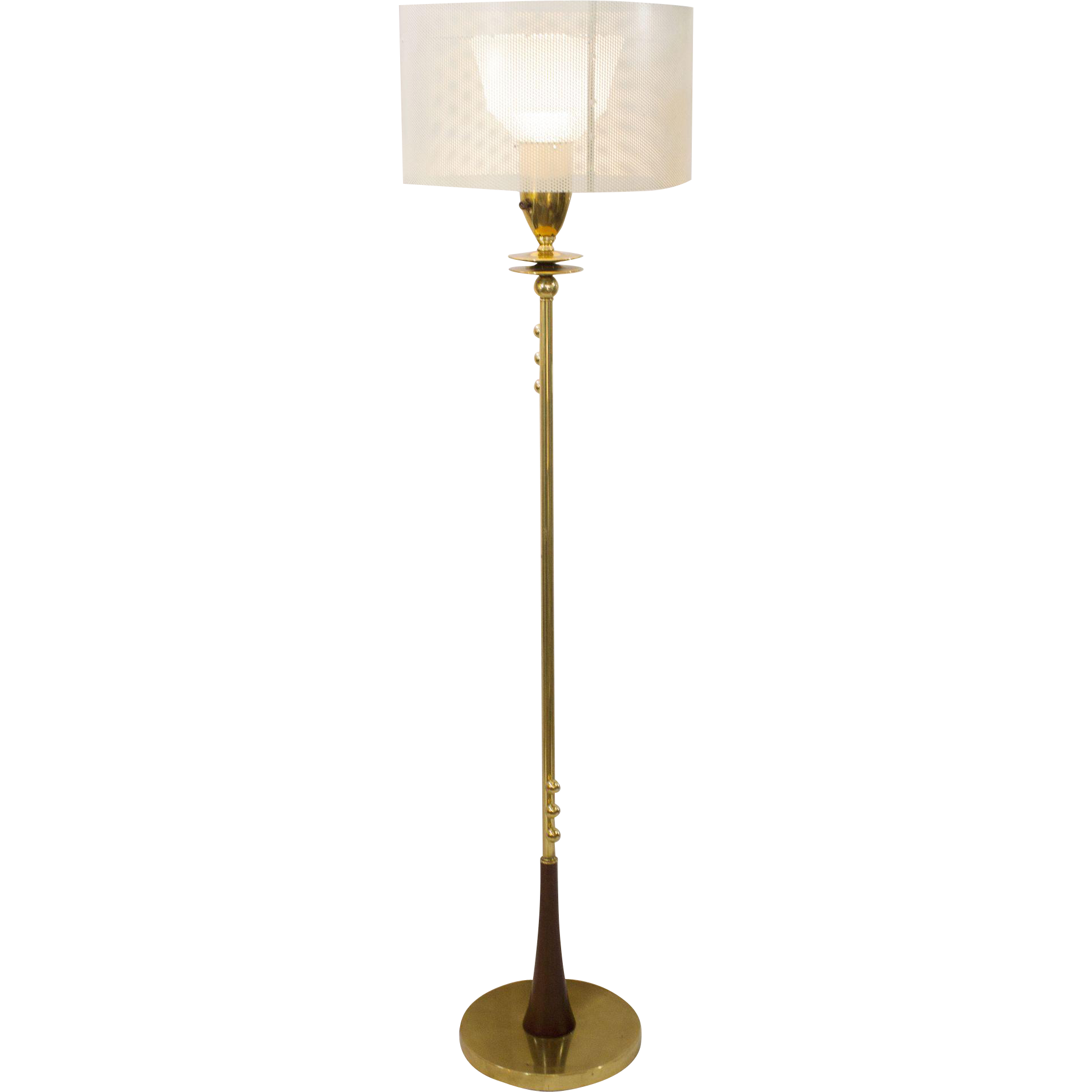 Mid Century Modern Brass Floor Lamp With Perforated Shade