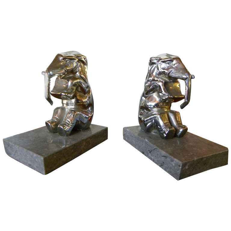 Chrome Plated Elephants Bookends French Art Deco Modernism