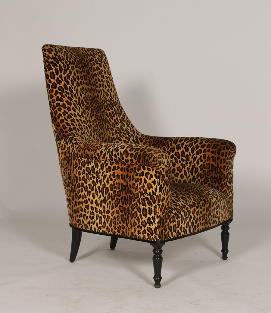 Pair Of Napoleon 3rd Leopard Print Club Chairs Modernism