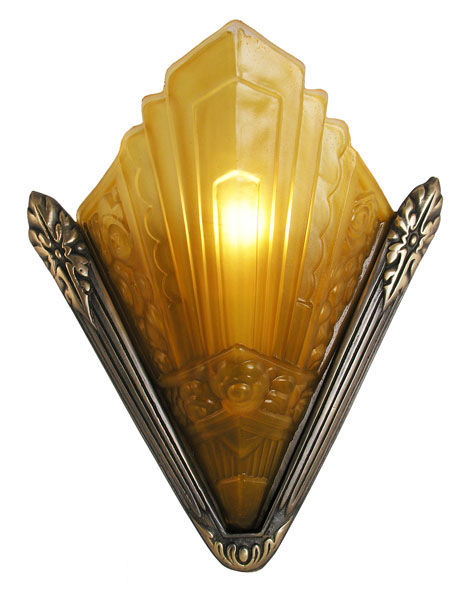 Wall Sconce Lighting Art Deco : Recreated Marseilles French Art Deco Slip Shade Sconce Modernism