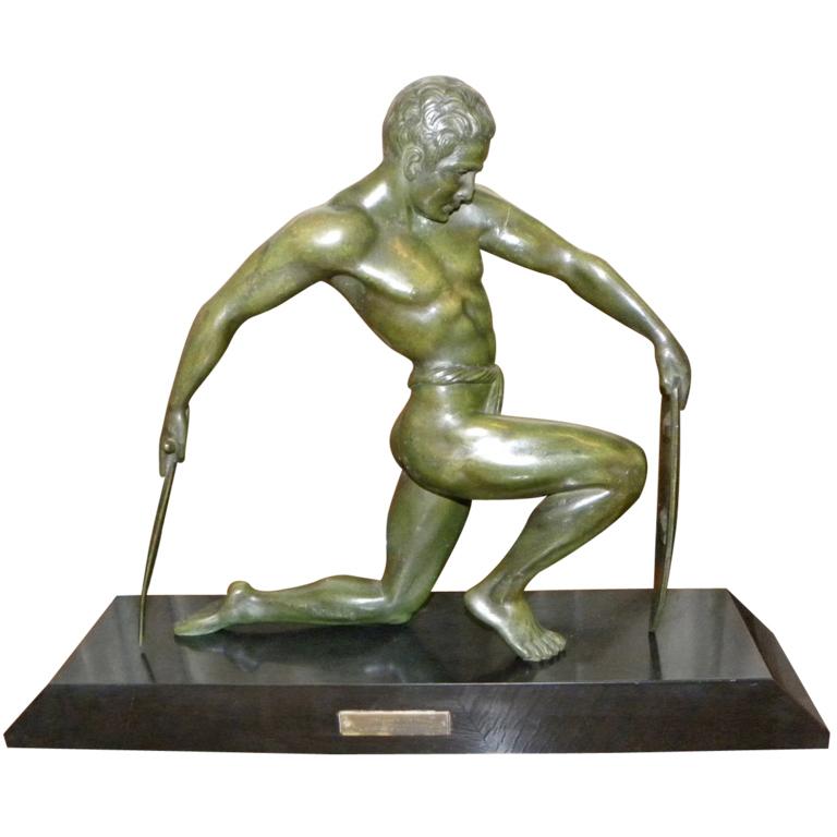 Bronze Male Art Deco Warrior Sculpture By Kowatz French | Modernism