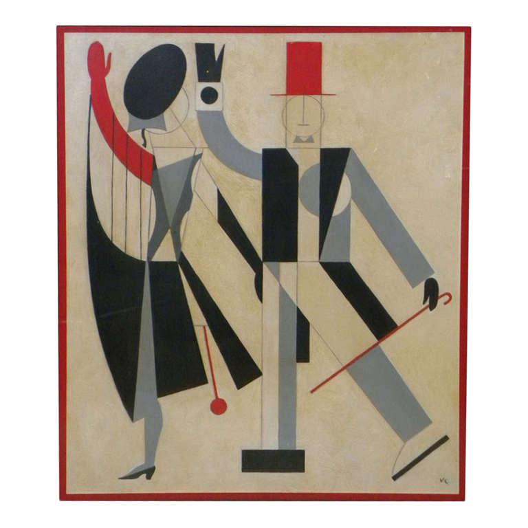 Original Art Deco Cubist Painting By Vilheim Lundstrom