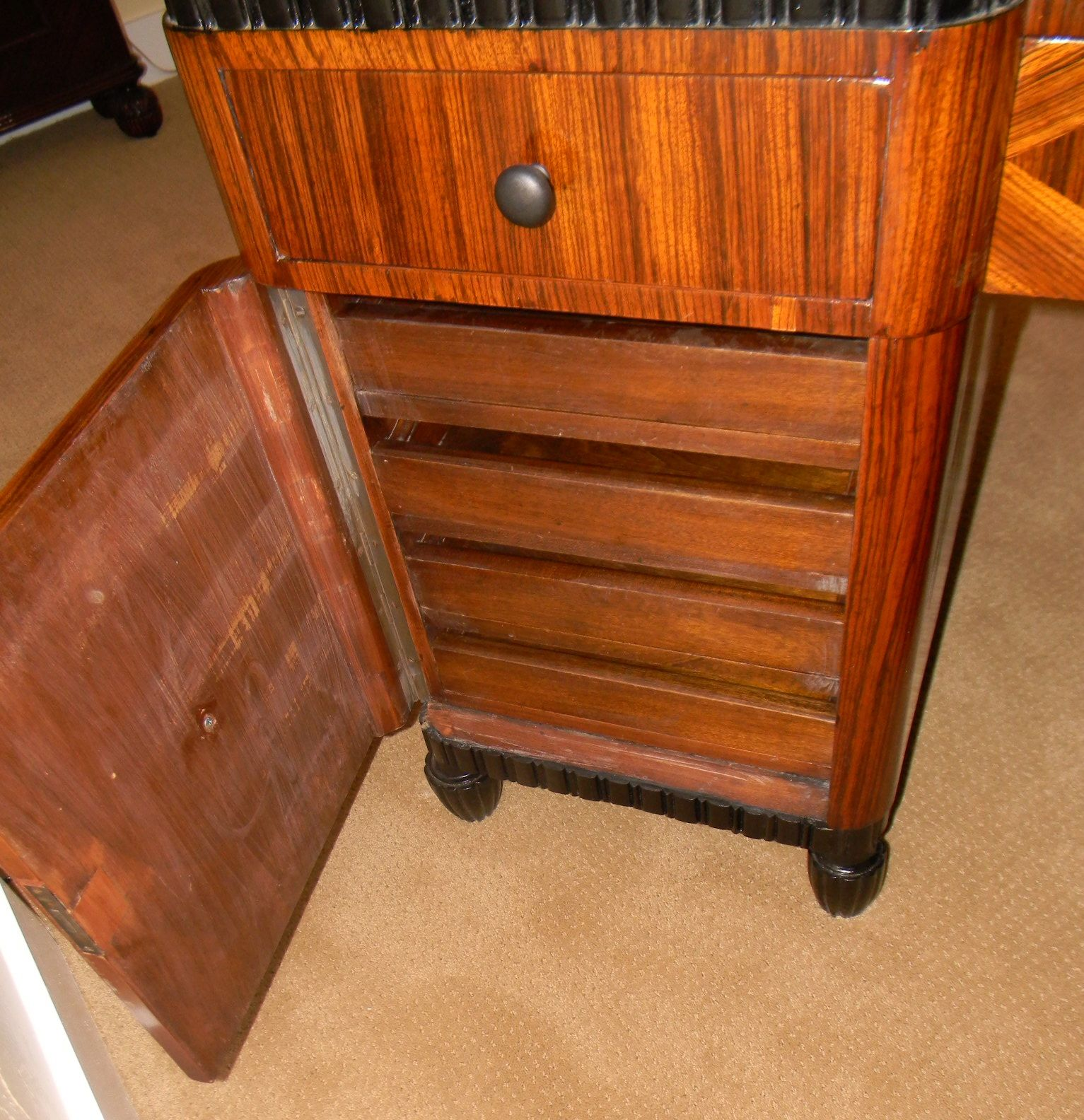 Art Deco Zebra Wood Geometric Inlay And Ebony Desk