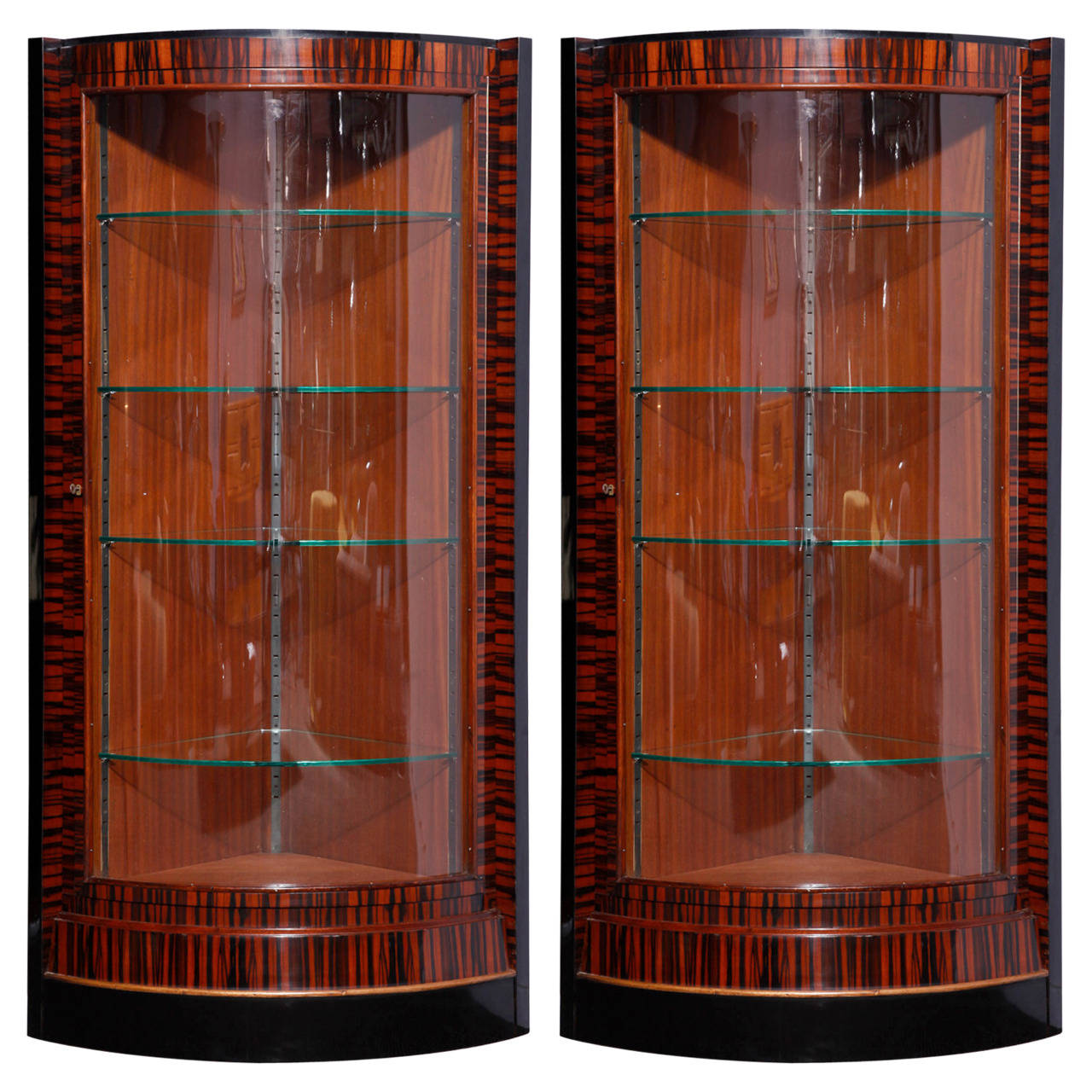 pair of ebony macassar art deco vitrines modernism. Black Bedroom Furniture Sets. Home Design Ideas