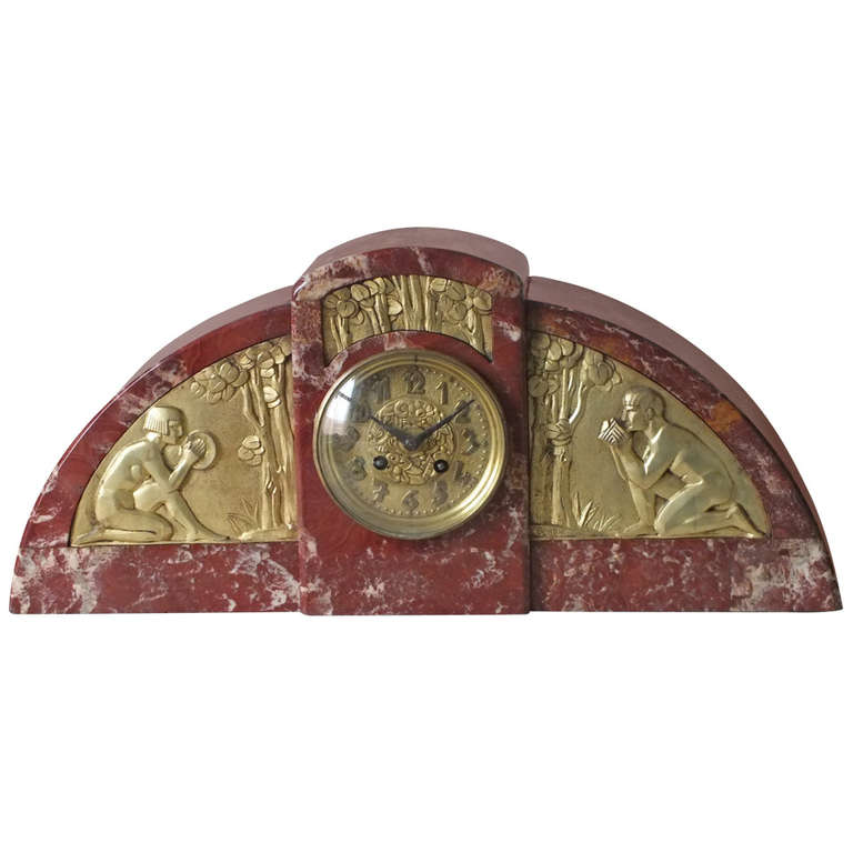 Important French Art Deco Marble Clock Gilt Bronze Details