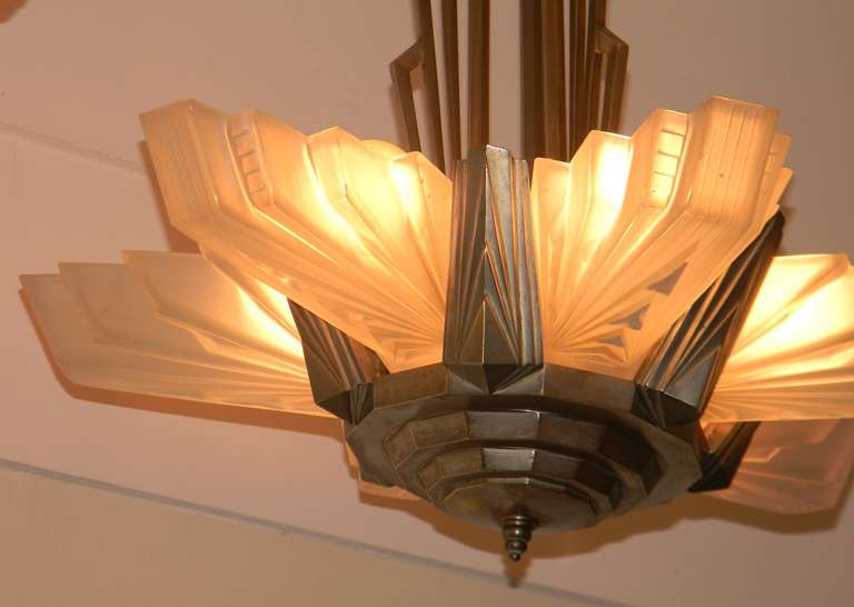 Huge French Art Deco Atelier Petitot Chandelier, Stunning | Modernism