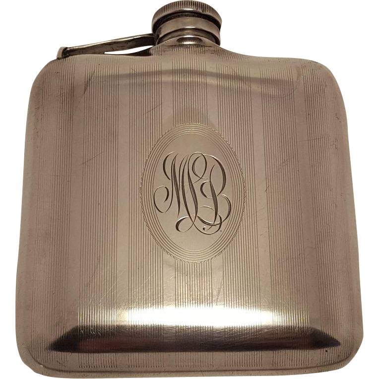 1920s Monogrammed Sterling Silver Hip Flask Modernism