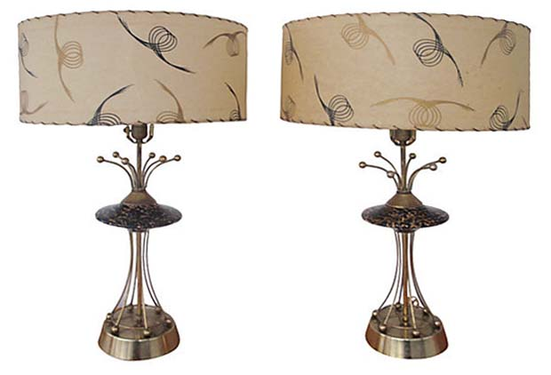 Awesome 1950s Atomic Age Table Lamps W/ Fiberglass Shades