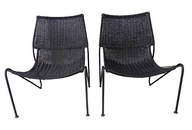 California Modern Wicker Chairs Attrib. Greta Grossman
