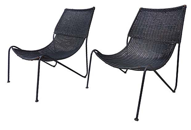 california modern wicker chairs attrib greta grossman modernism
