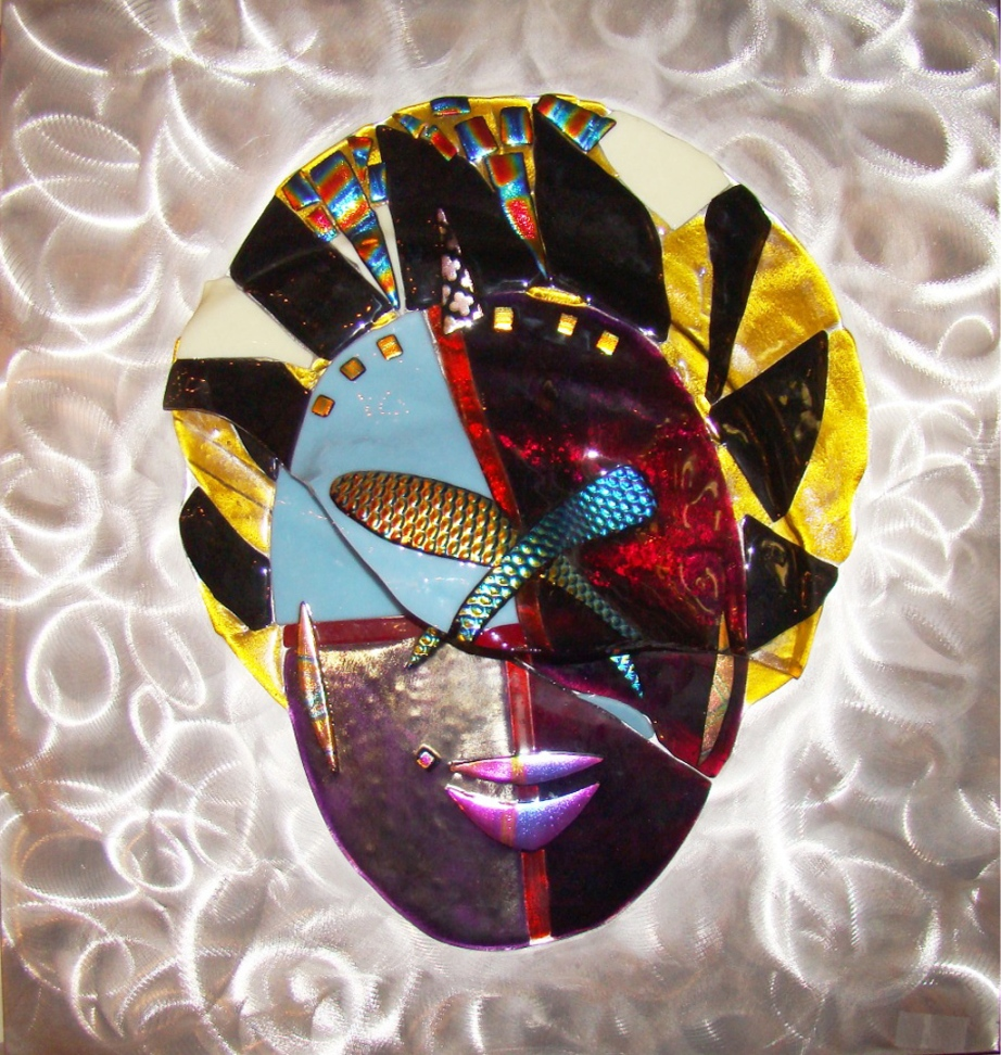 1980 S Contemporary Fused Glass Mask On Aluminum Plaque
