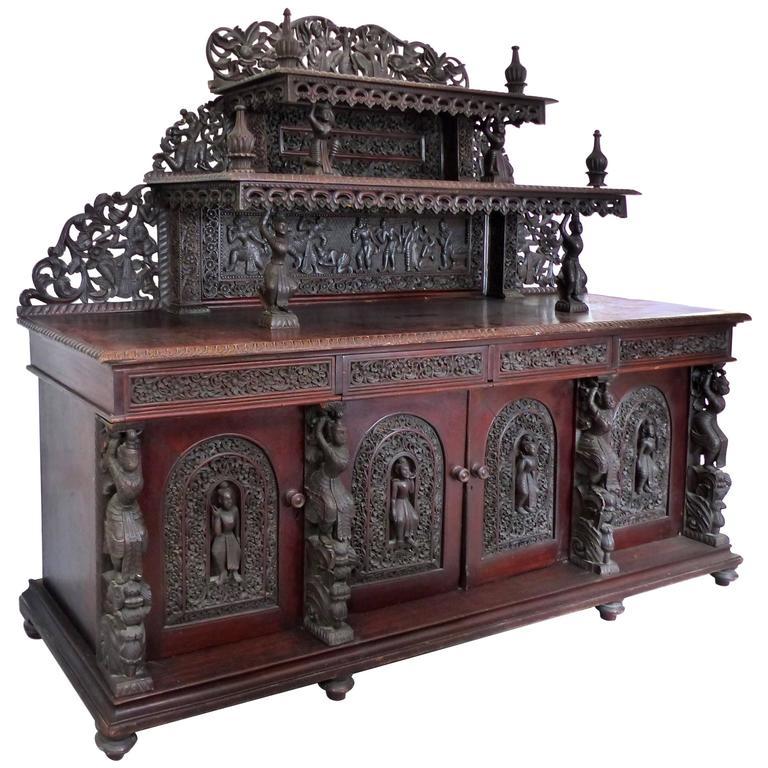 burmese over scale carved rosewood anglo indian sideboard. Black Bedroom Furniture Sets. Home Design Ideas