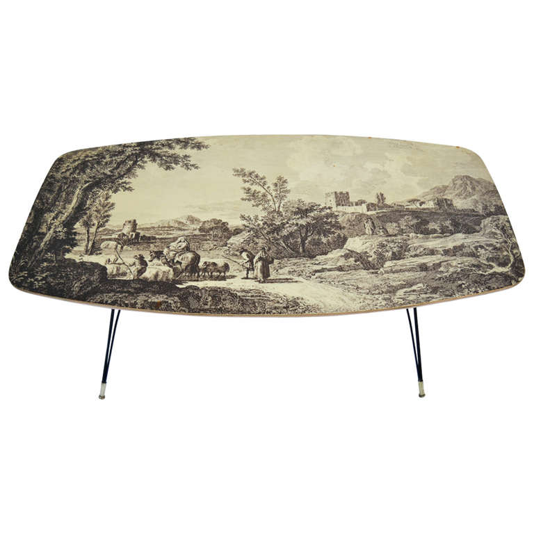 Coffee table 50 39 s italian style of fornasetti modernism Tuscan style coffee table