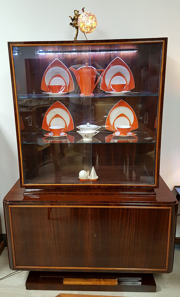 30 S French Art Deco China Cabinet In Manner Of Ruhlmann