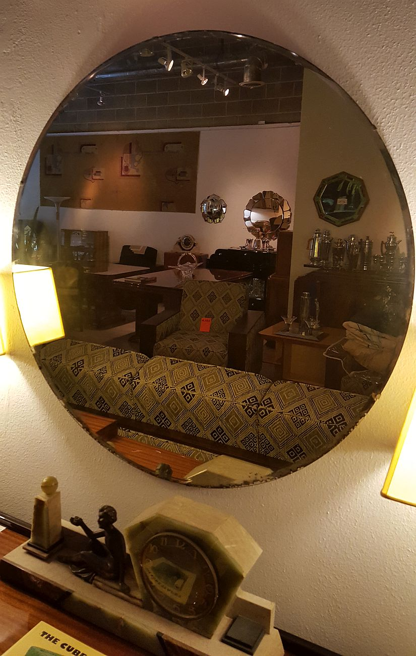 1930s Pale Amber Art Deco 36 Inch Diameter Beveled Mirror