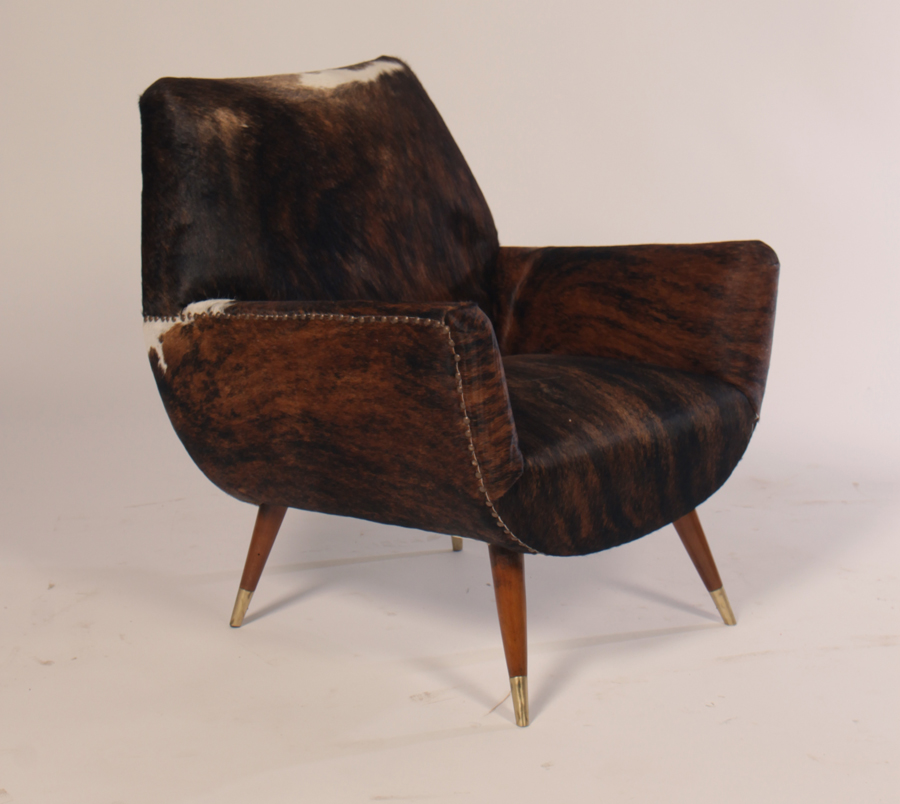 Great Italian Mid Century Modern Club Chairs Covered In Cowhide