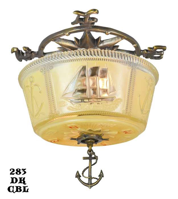 Nautical Marine Close Ceiling Bowl Light Fixture Modernism