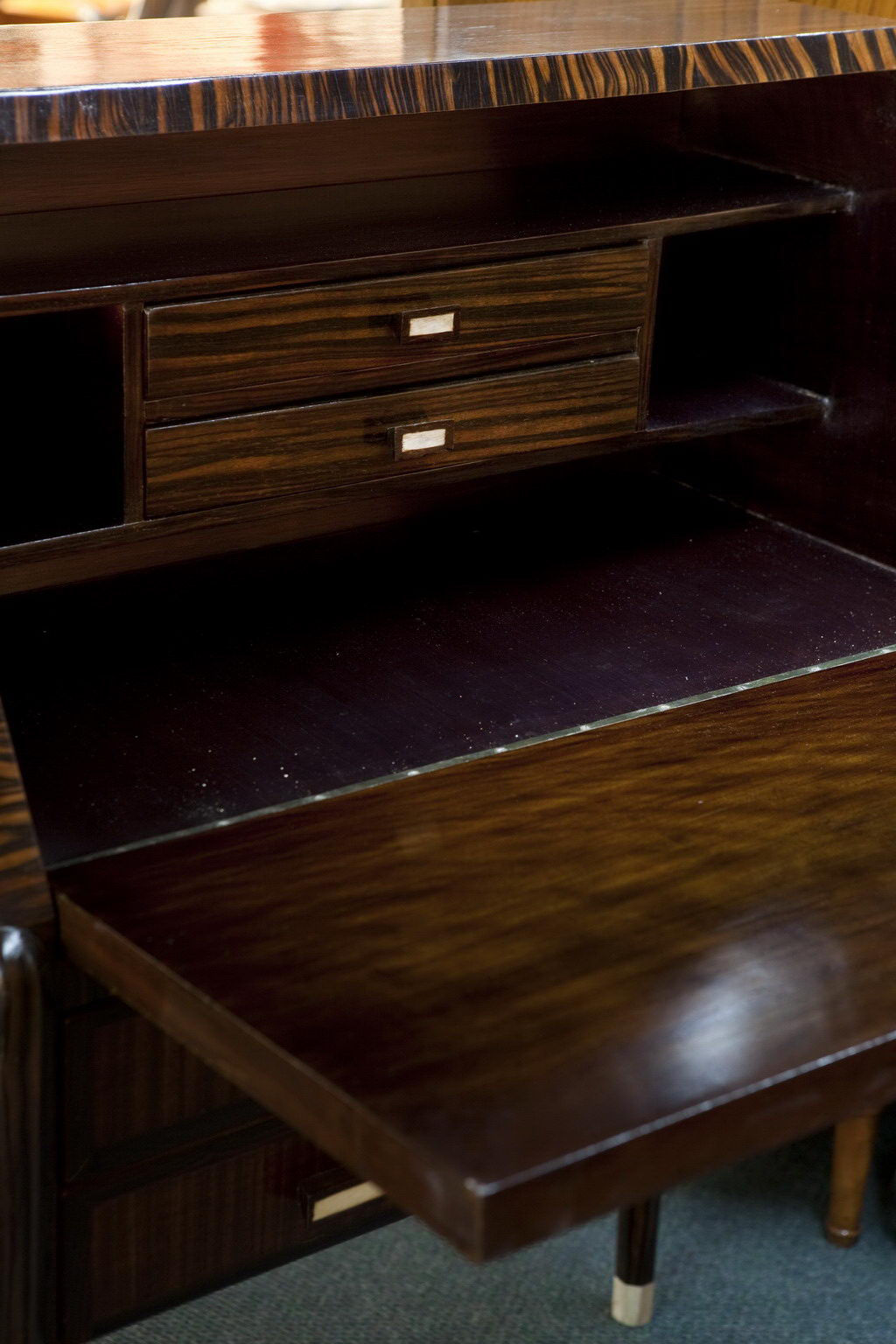 Art Deco Secretary Desk With Drop Down Shelf And Marquetry