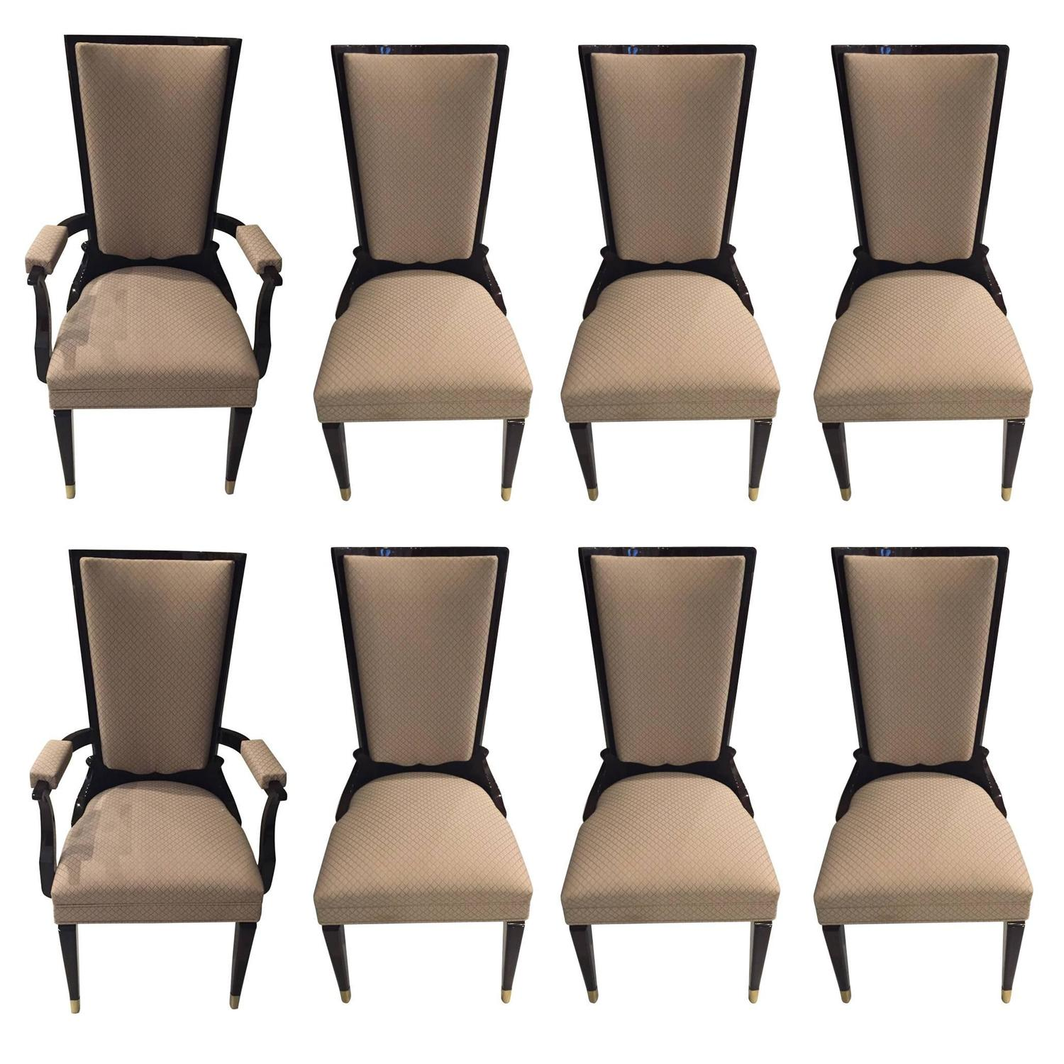 Unique Set Of 8 French Art Deco Dining Chairs In The Style Leleu | Modernism SQ15