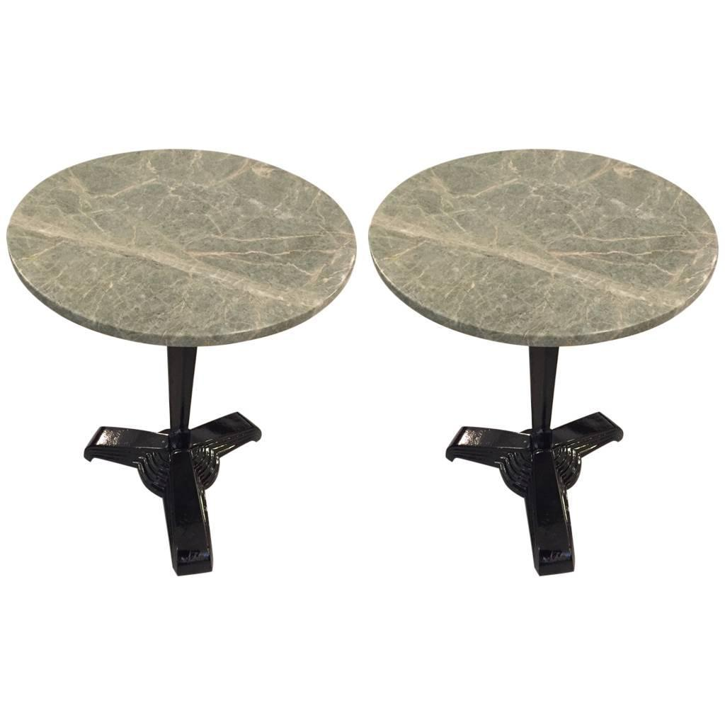 Pair Of Art Deco Marble Top Metal Side Tables Modernism