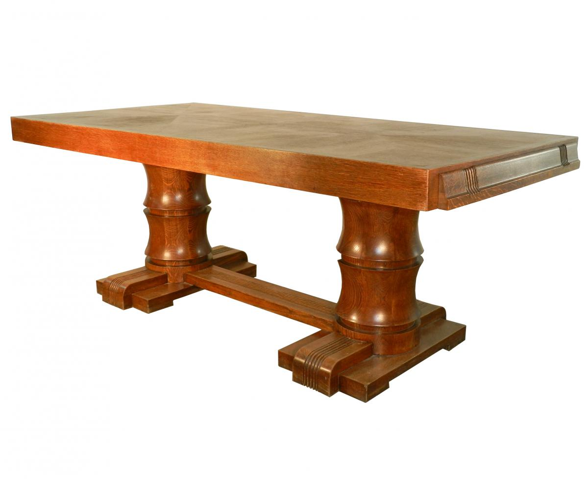 Charles dudouyt art deco rustic modern oak dining table for Modern oak dining table