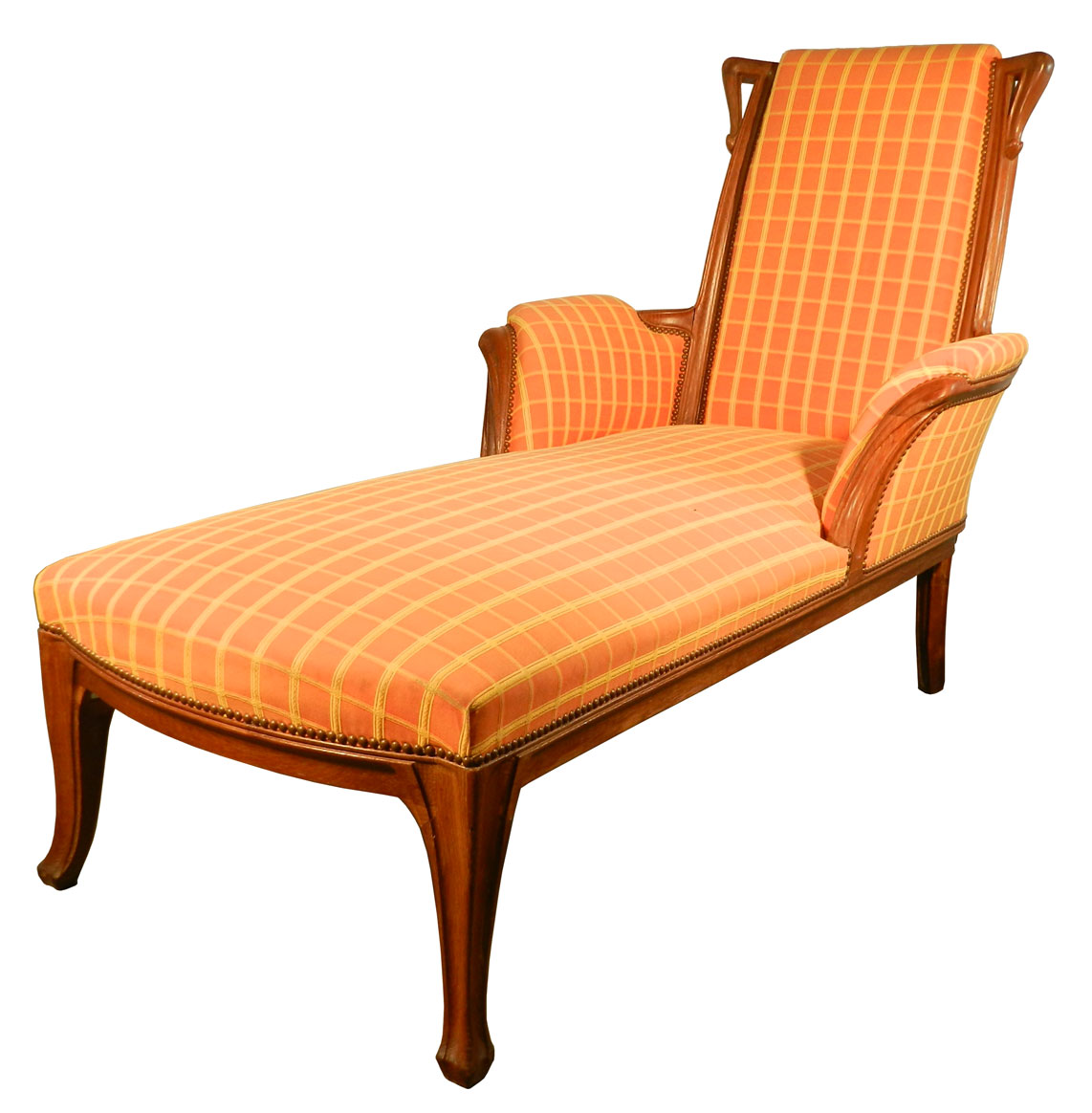 long art nouveau oak chaise lounge modernism