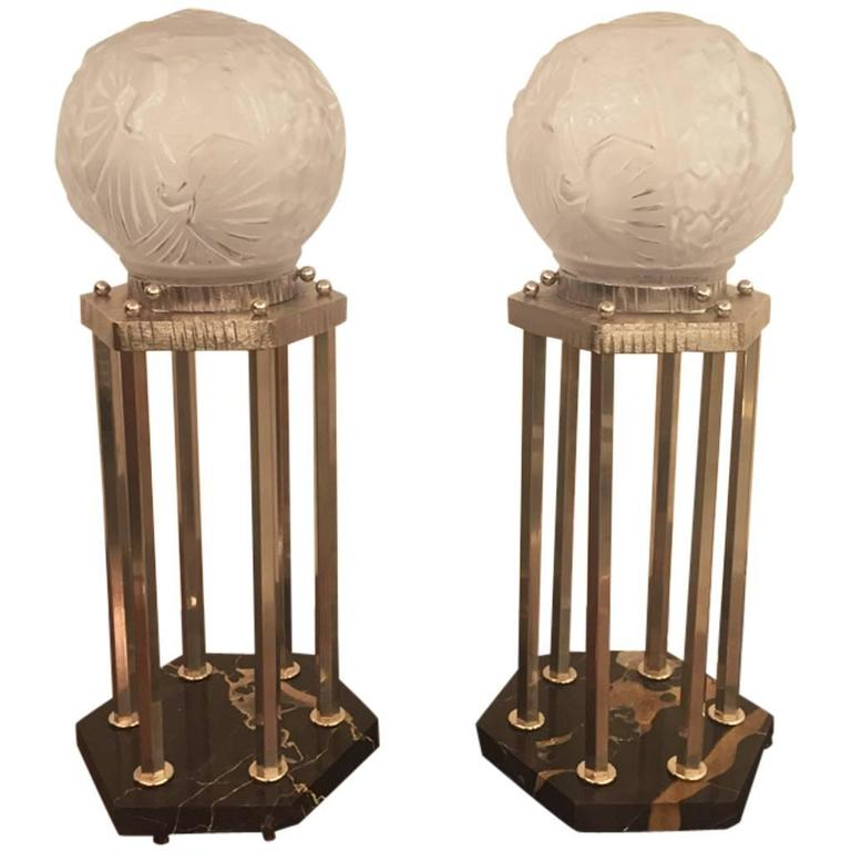 French Art Deco Pair Of Table Lamps By Muller Fr 232 Res