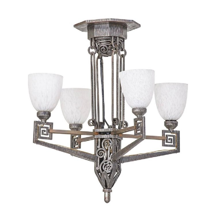 Edgar Brandt Style French Art Deco Chandelier Modernism