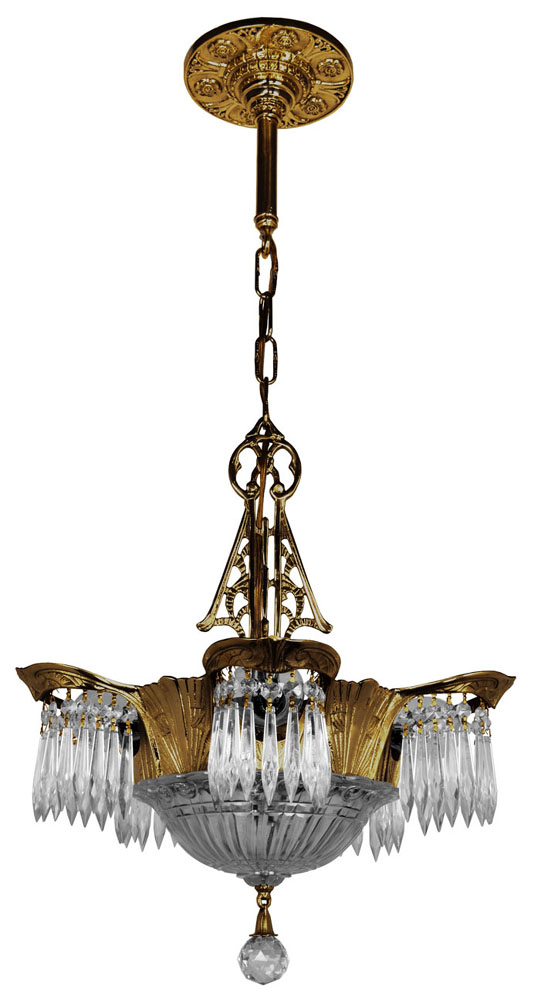 Art Deco Crystal Prism Lincoln Utopia Chandelier Modernism