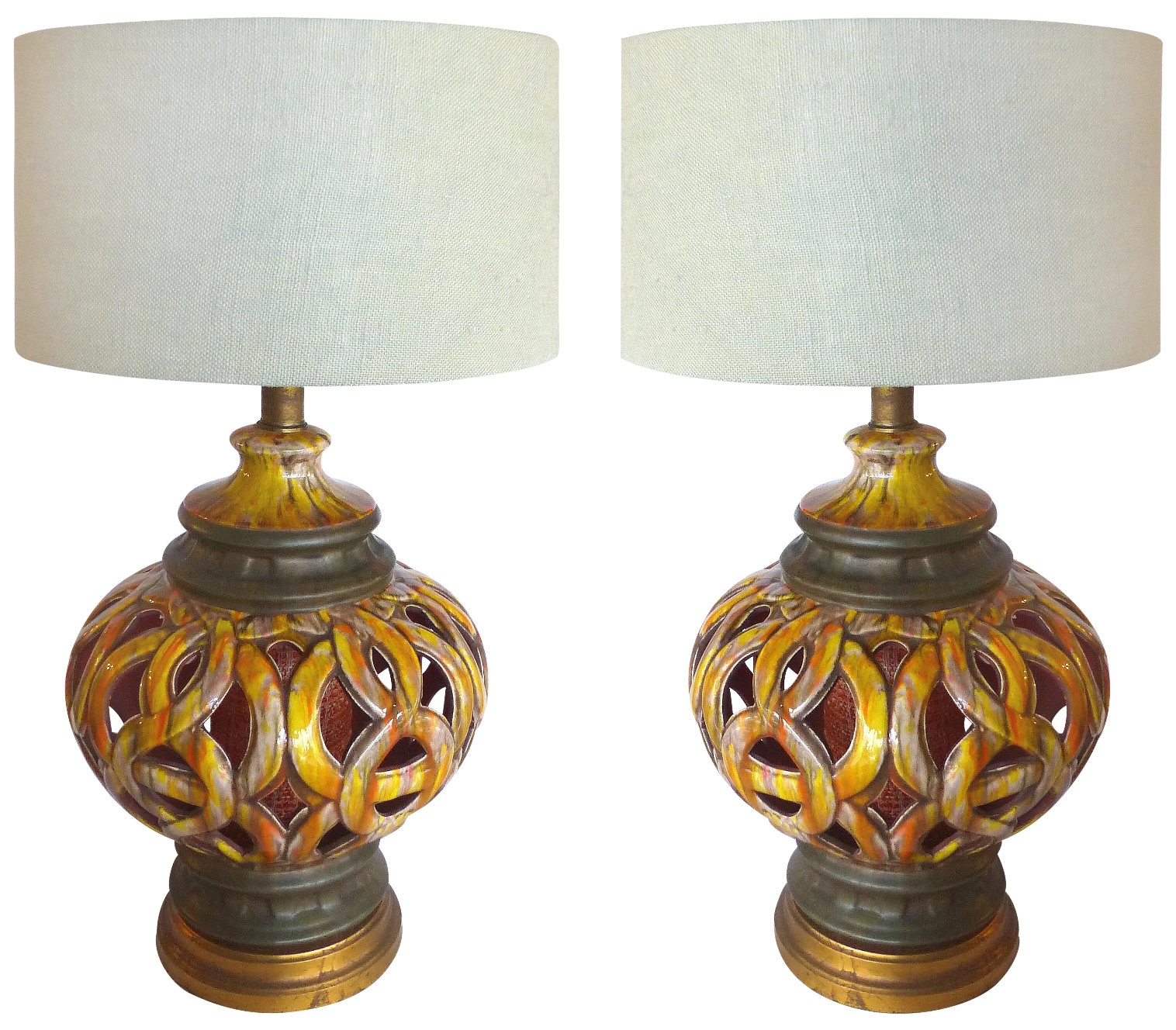 60s Pierced Ceramic Table Lamps Pair Modernism