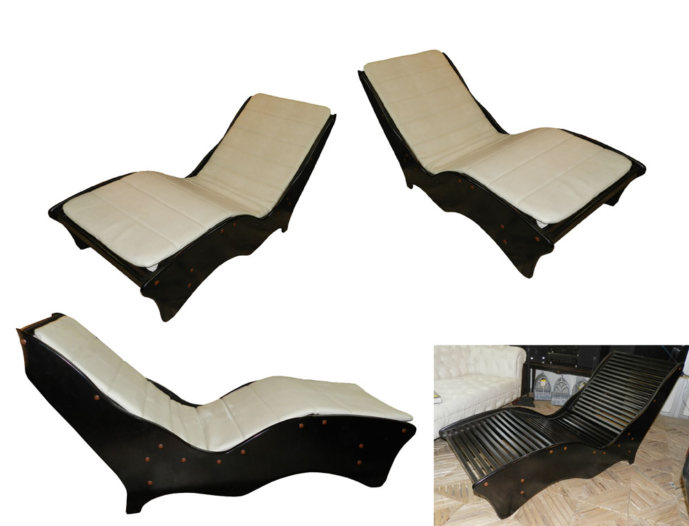 Pair of lacquer and leatherette ergonomic chaise lounges modernism - Ergonomic lounger ...