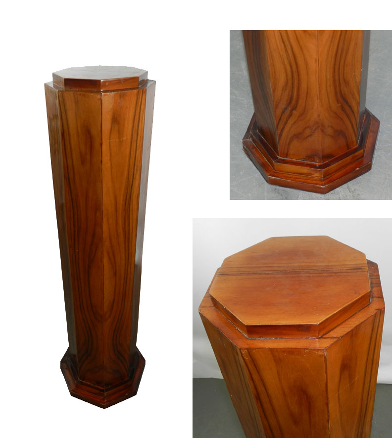 Art Deco Walnut Veneer Pedestal Geometric Modernism