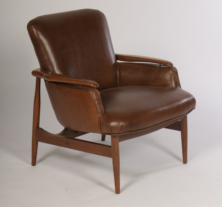 Pair Of Mid Century Modern Leather Club Chairs