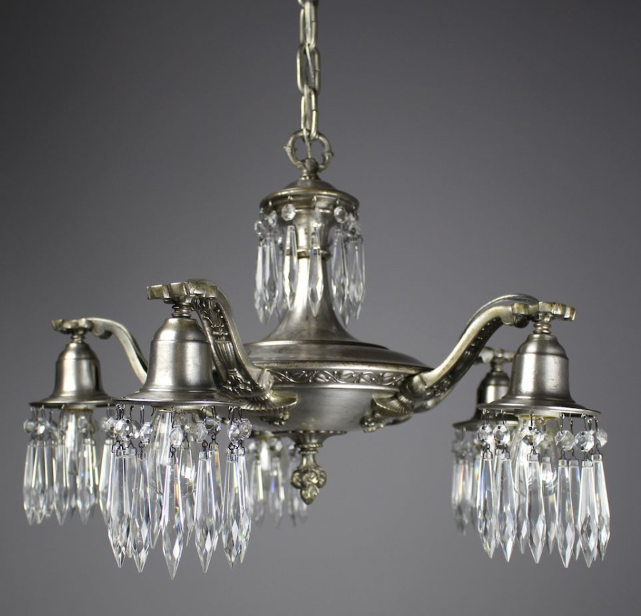 Edwardian 5 light crystal swag chandelier modernism edwardian 5 light crystal swag chandelier mozeypictures Gallery