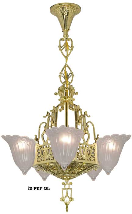 Art Deco Slip Shade Fleur De Lis Tall 5 Light Chandelier