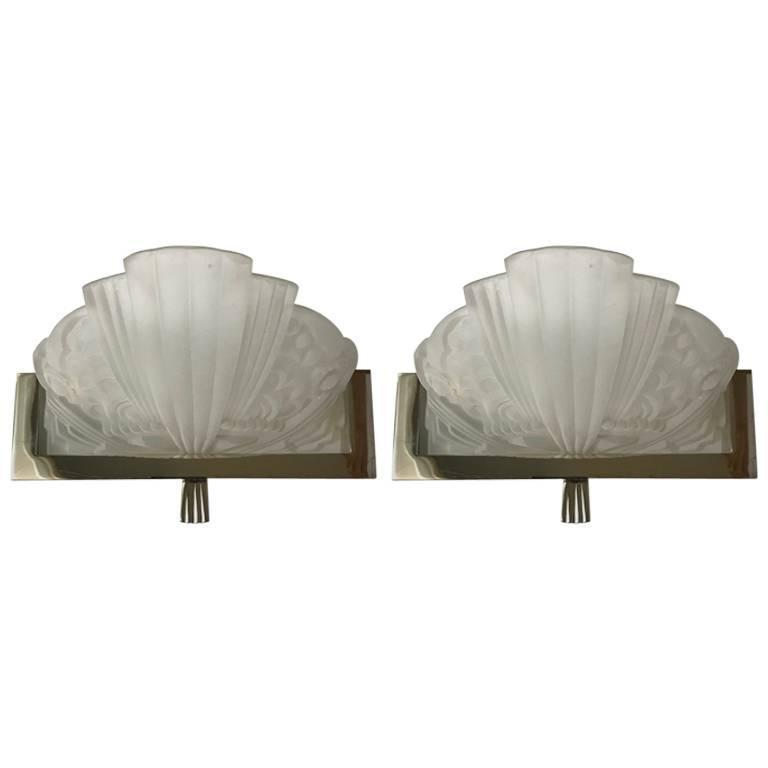 Pair Of French Art Deco Sconces By Georges Leleu Modernism