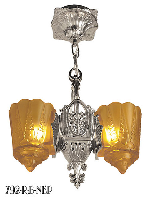 Lincoln Art Deco Two In One Slip Shade Two Light Pendant