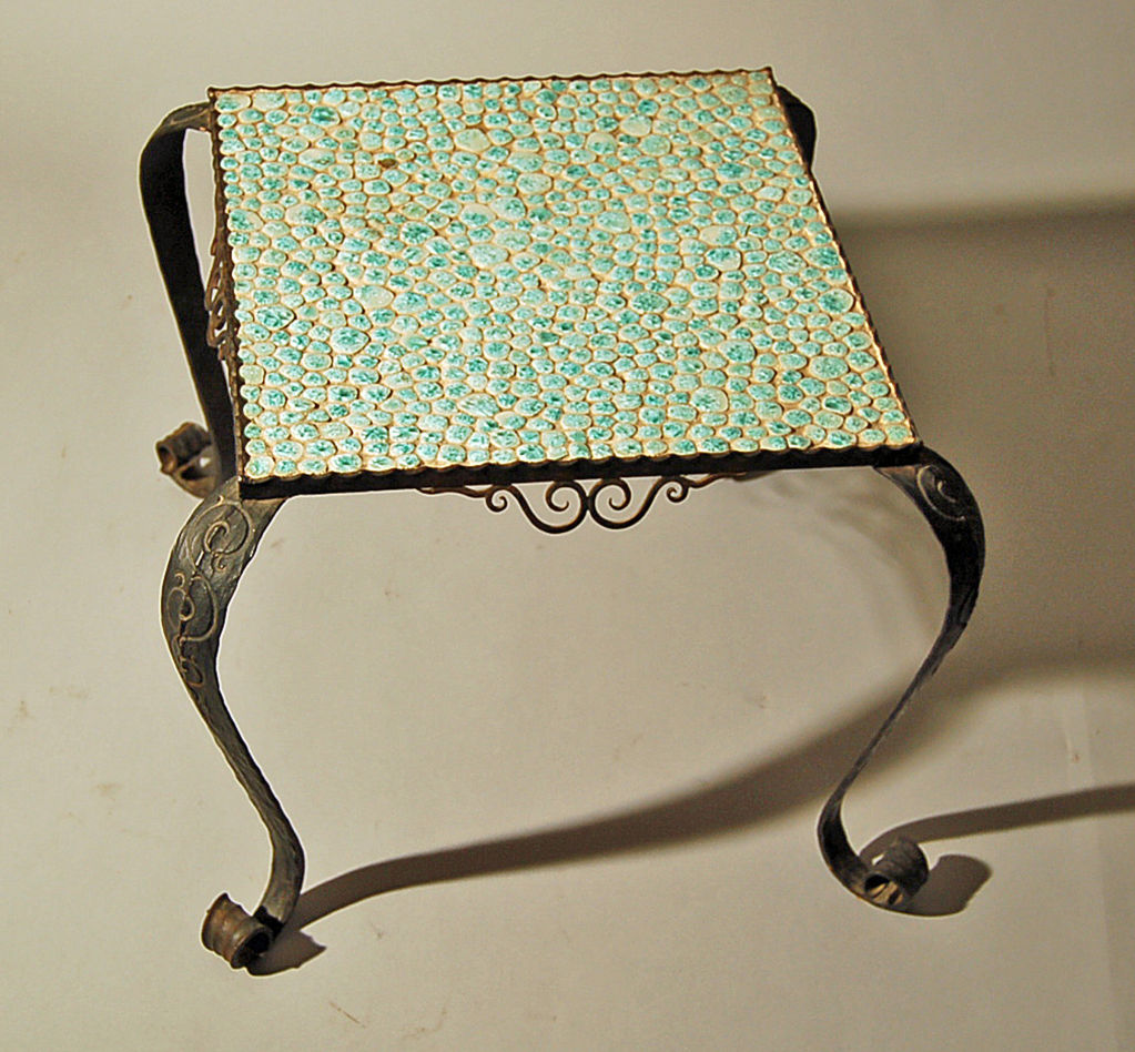 French Art Deco Wrought Iron And Ceramic Coffee End Table