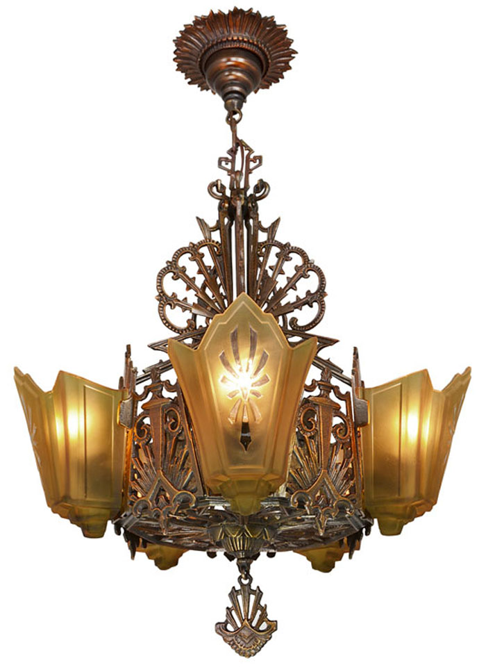 American Art Deco Bronzed Metal Slip Shade Chandelier Modernism