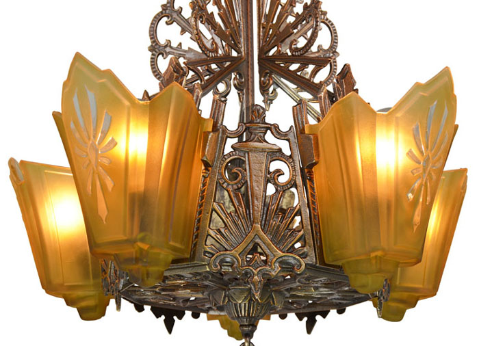 American art deco bronzed metal slip shade chandelier modernism american art deco bronzed metal slip shade chandelier aloadofball Gallery