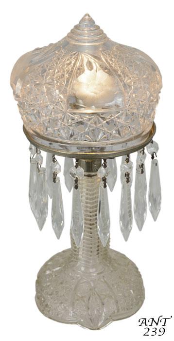 1920s Press Cut Small Clear Glass Bedroom Lamp Modernism