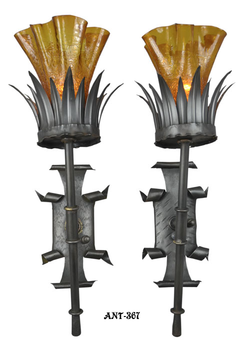 Gothic Style Wall Sconces : Antique Pair of Gothic Style Wall Sconce Lights c1920-30 Modernism