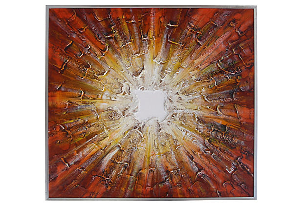 Midcentury Modern Sunburst Oil Painting Signed Walker