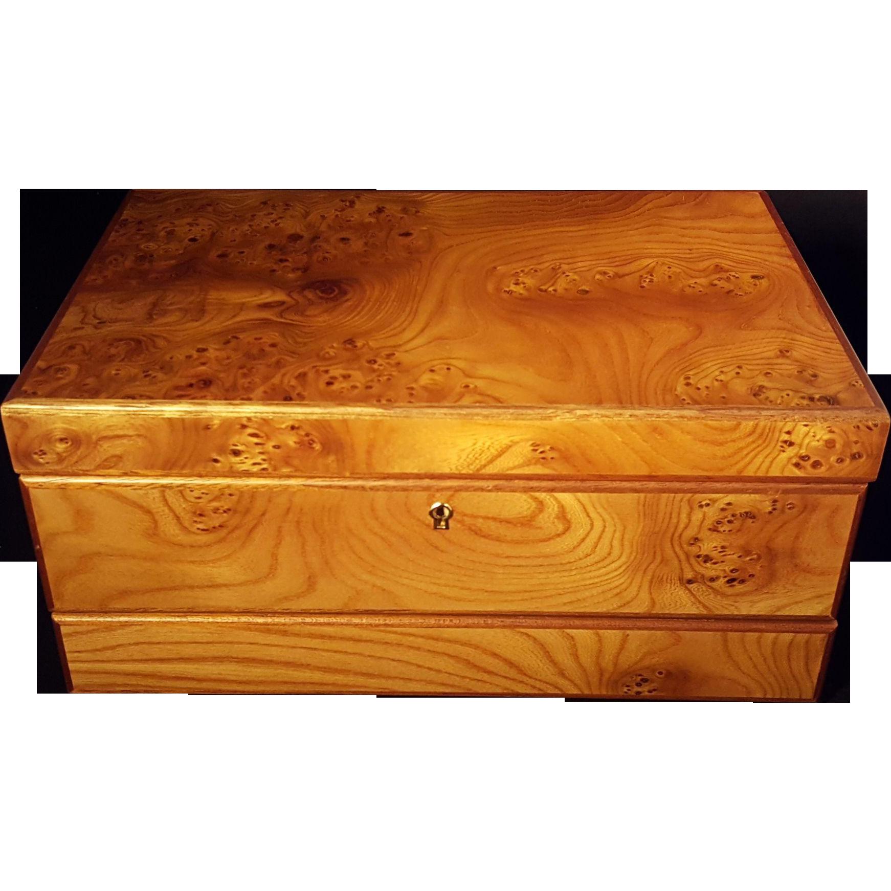 Agresti briarwood jewelry box like new condition with key for Jewelry box with key